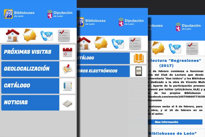 Imágenes de la app del Bibliobús de la provincia de León