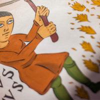 El calendario agrícola de San Isidoro de León para colorear: agosto
