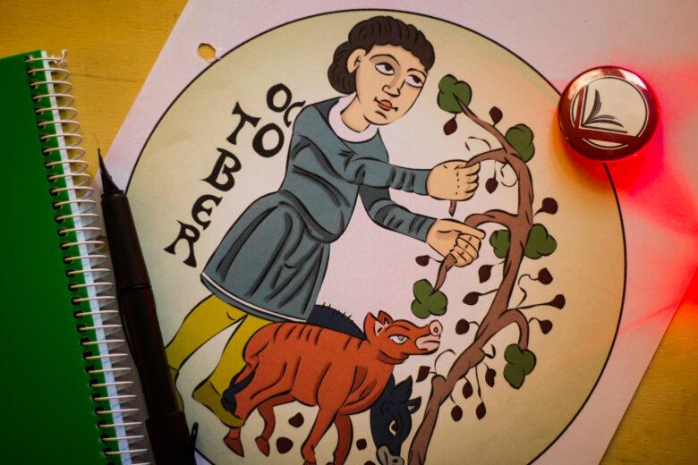 El calendario agrícola de San Isidoro de León para colorear: octubre